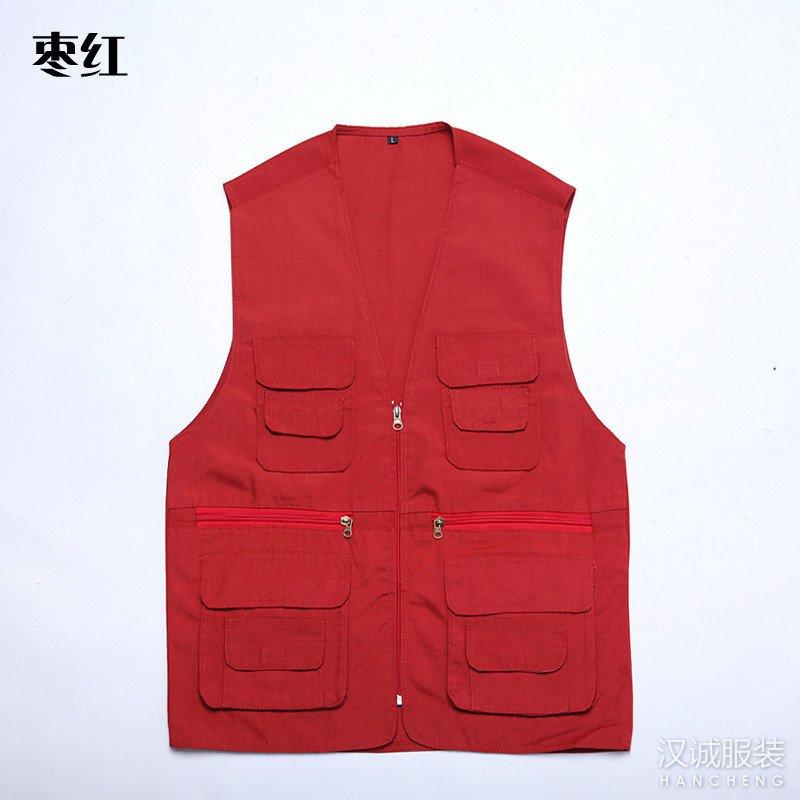 枣红色多口袋马甲